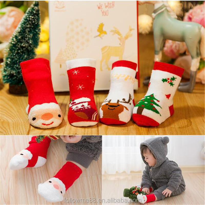 C2a Wholesale Winter Novelty Organic Cotton Sock Fashion Christmas Knitted Lace Boot Cartoon Tube Baby Adult Socks
