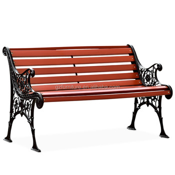 Cast Iron Outdoor Wood Garden Bench Antique Leisure Park With Back And Metal Legs
