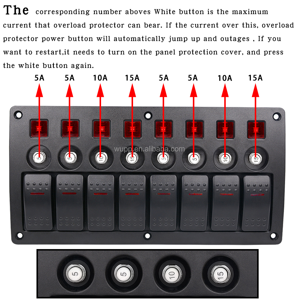 8 Gang Toggle Switch On Off Marine Switch Panel