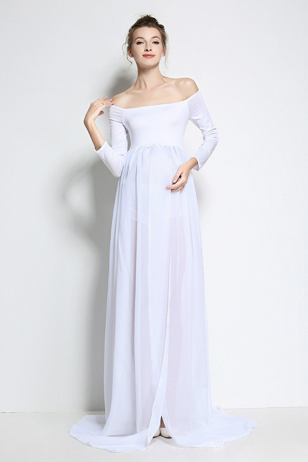 05b204a6b Get Quotations · Maternity Chiffon Gown Split Front Maxi White Photography  Dress for Pregnancy Photo Shoot