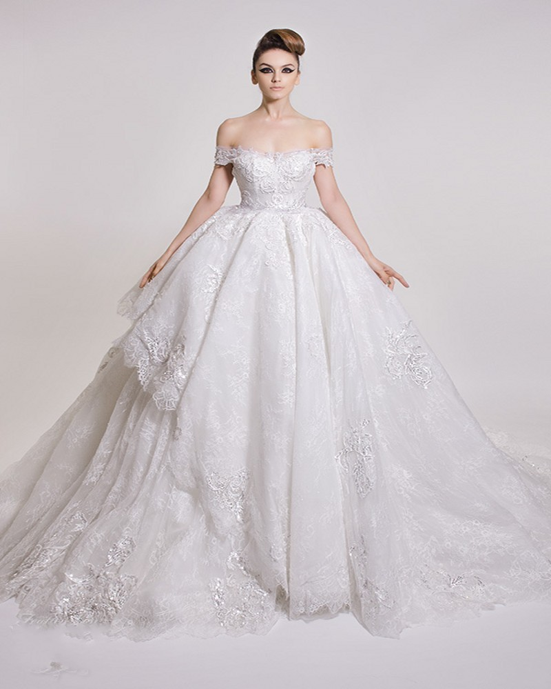 Amazing Lace Ball Gown Wedding Dress 2016 Sexy Off The