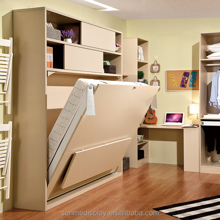 small apartment modern folding wall <strong>bed</strong> with desk