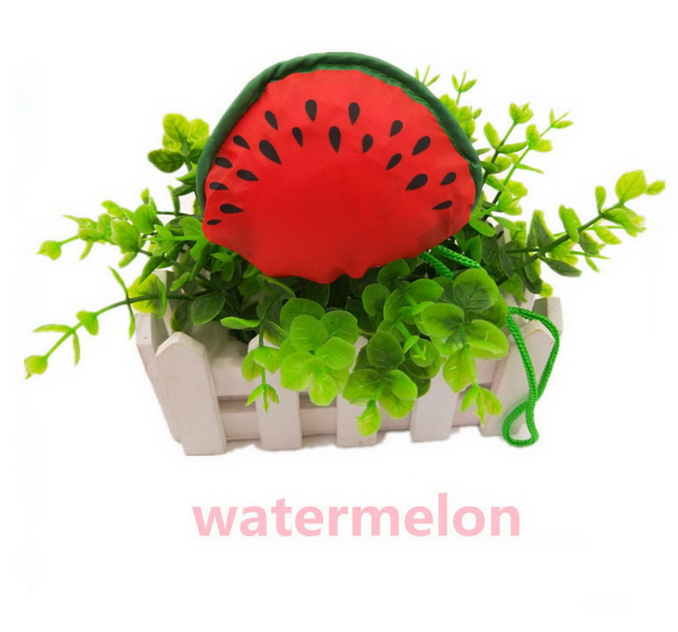 Recycled cute watermelon shape reusable polyester drawstring foldable fruit shopping bag