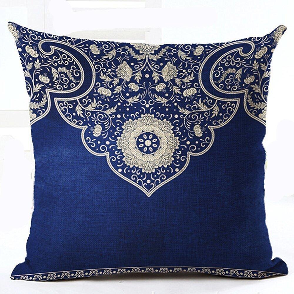 "Cotton Linen Square Decorative Throw Pillowcase Cushion Cover Retro style blue and white porcelain Bohemian floral design Dark blue background 18 ""X18 "" (Boho floral)"
