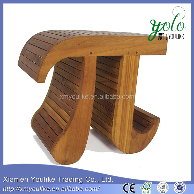 Pi-Shaped Bamboo or Teak Shower Bench for bathroom