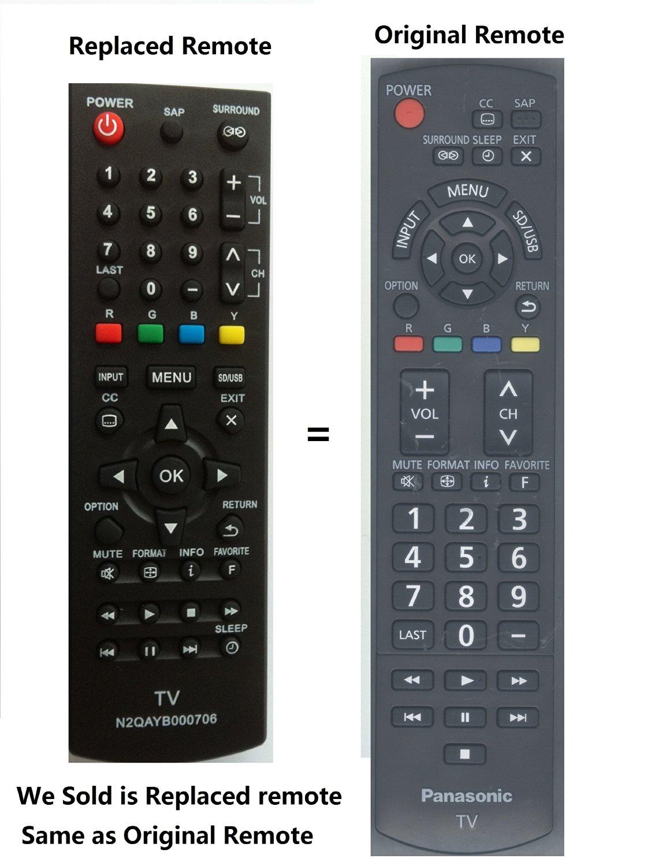 New Panasonic N2qayb000706 N2qayb000485 Replaced Lost Panasonic Tv Remote for Panasonic Tcl24x5 Tcl32x5 Tcp42x5 Tcp50u50 Tcp50x5 Tcp50x5b Tcp50xd Tcp60u50 Tc50pu54 Tc32lx24 Tc42ld24 Tc42ls24 Tc42px24 Tc50ps24 Tc50px24 Tcl22x2 Tcl32c22 Tcl32u22 Tcl32x2 Tcl37c22 Tcl37d2 Tcl37u22 Tcl37x2 Tcl42d2