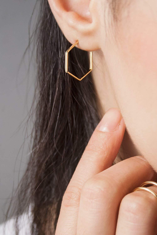 ad3ca6ae8 Get Quotations · Gold Hoop Earrings, Gold Hexagon Hoops, 9K, 14K, 18K Gold  Earrings,