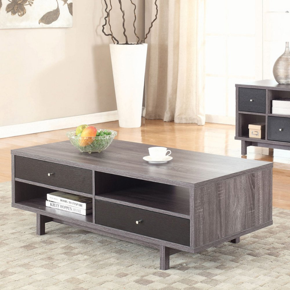 Coaster 705388-CO Storage Coffee Table, Antique Grey/Black