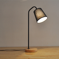fabric led desk lamp 2018 wooden base table lamp