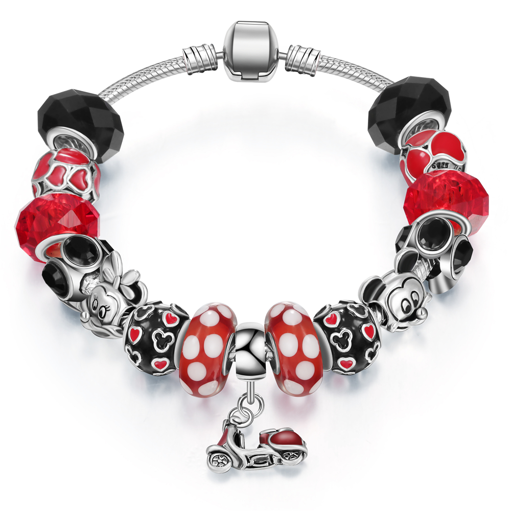 a172778d5974 Nueva joyería de moda encantos de cristal de Murano para la fabricación de  pulsera Mickey bead