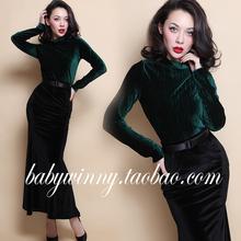FREE SHIPPING 2016 Spring New Vintage Elegant Classic Turtleneck Emerald Velvet Top And Fishtail Skirt Slim