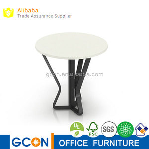 Modern design small round coffee table with metal legs
