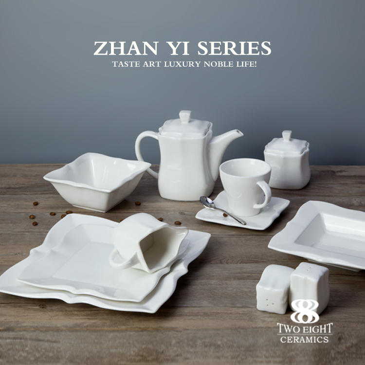 hotel restaurant supplies glazed ceramic plates cutlery and crockery porcelain dinner table set