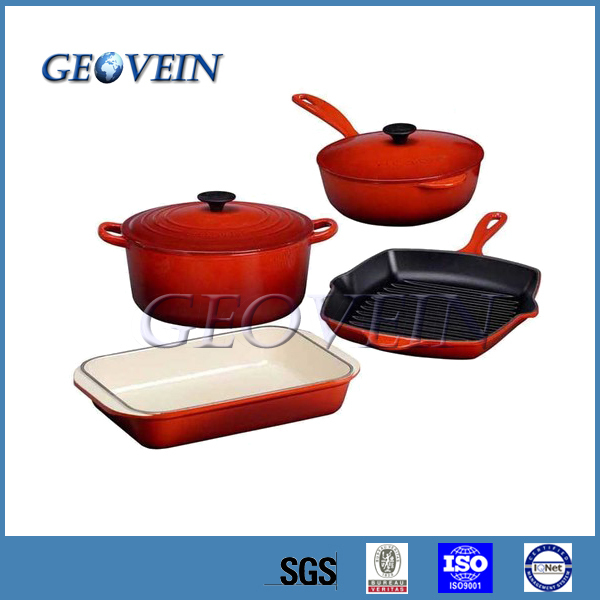 4 Piece Kitchens Sets Cast Iron Enamel Casserole Gift Sets