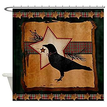 Get Quotations Shower Curtain Company CafePress Primitive Folk Art Crow And Star Christmas Theme S