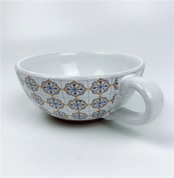 New design Ceramic porcelain terracotta stoneware black print soup Salad Cereal tea bowl with handle