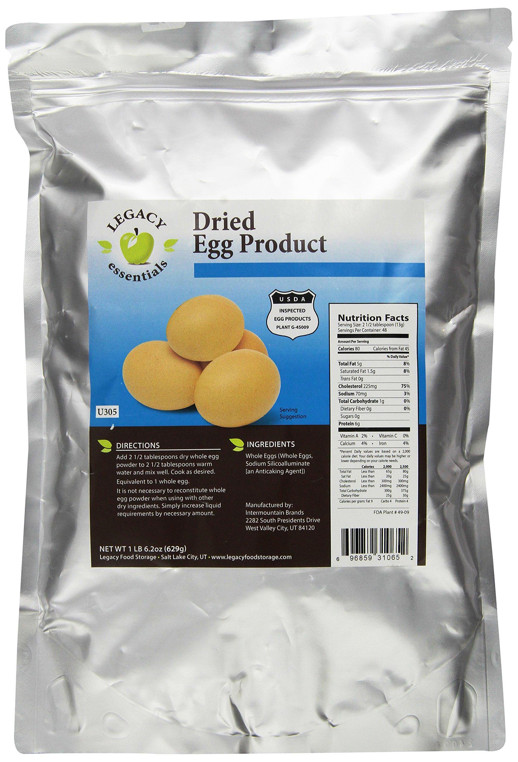 Legacy Essentials Long Term Powdered Whole Eggs - 15 Year Shelf Life Egg Powder for Emergency Food Storage Supply (Quantity 1)