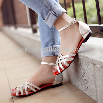 Fancy Women Latest Flat Sandals Straps Girls Shoes