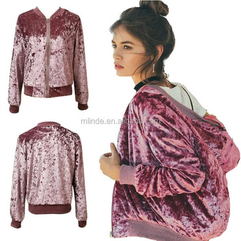 Fashion hot pink crushed velvet baseball jackets women custom print hooded varsity jacket ladies