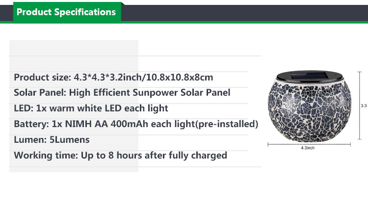 Solar Mosaic Glass Table Lights,Waterproof Warm White LED Multi-color Night Lights for Outdoor Garden Indoor Decoration