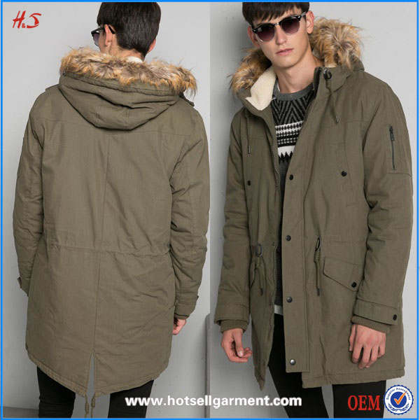 Professional Custom High Quality Fashion Basic Fashtail Parka Man Military Parka with Fur Hood for Winter