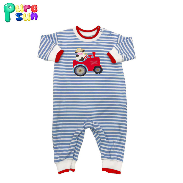 Puresun fall and winter cartoon dog applique baby romper stripe infant boutique clothing newborn longall wholesale