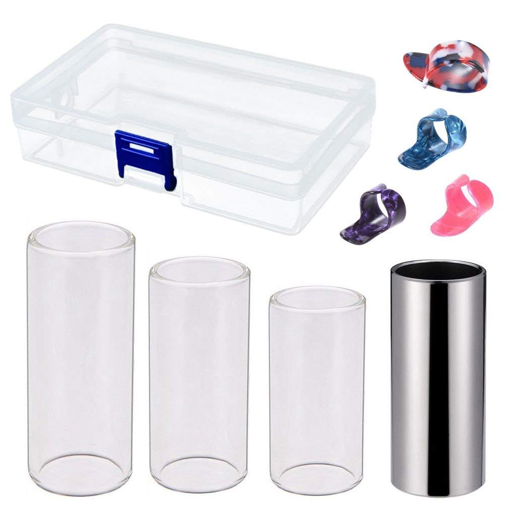 SODIAL Guitar Slides t Includes 3 Size Glass Slide, 1 Piece Stainless Steel Slide and 4 Pieces Plastic Thumb & Finger Picks with plastic Box