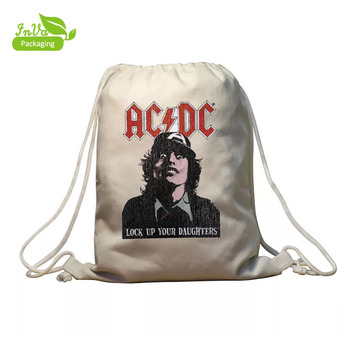 Hot style custom natural printed organic promotion gift 100% canvas drawstring cotton backpack