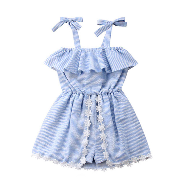 Wholesale baby clothes  girls striped jumpsuit with dress for summer 2019