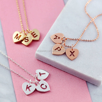 personalized jewelry charms name heart pendant alphabet necklace