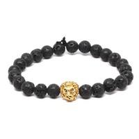 5% Discount Mens Gold Lion Head Metal Bead Bangle Bracelet Mens Black Lava Rock Genuine Stone Bracelet with Lion HPYL3507