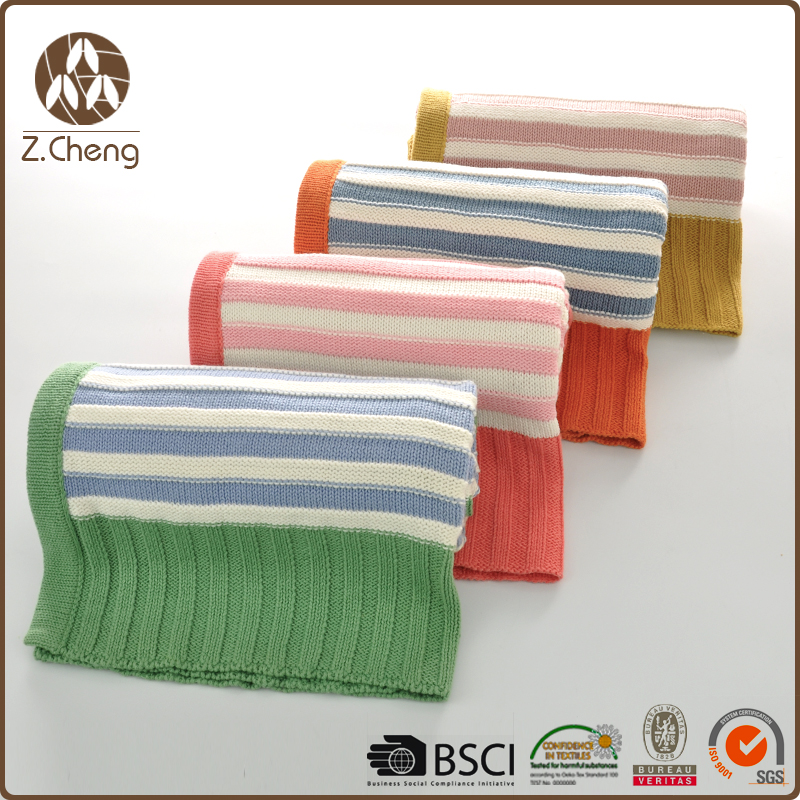 Luxury Custom Colorful Knitted Baby Blankets Wholesale