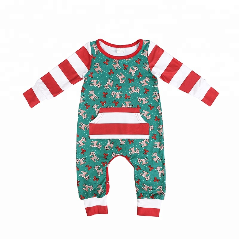 wholesales kids toddler baby clothing unisex Christmas romper Christmas jumpsuit