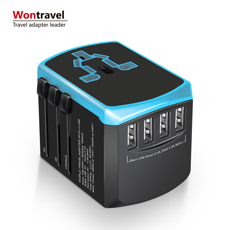 Nieuwste relatiegeschenk item Universele USB Travel Adapter 4600mA 4 Usb-poorten UK US AU Europa Plug Adapter Snellader