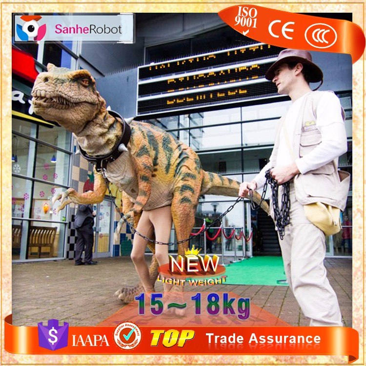 Let us walking with carnival festival costume dinosaur