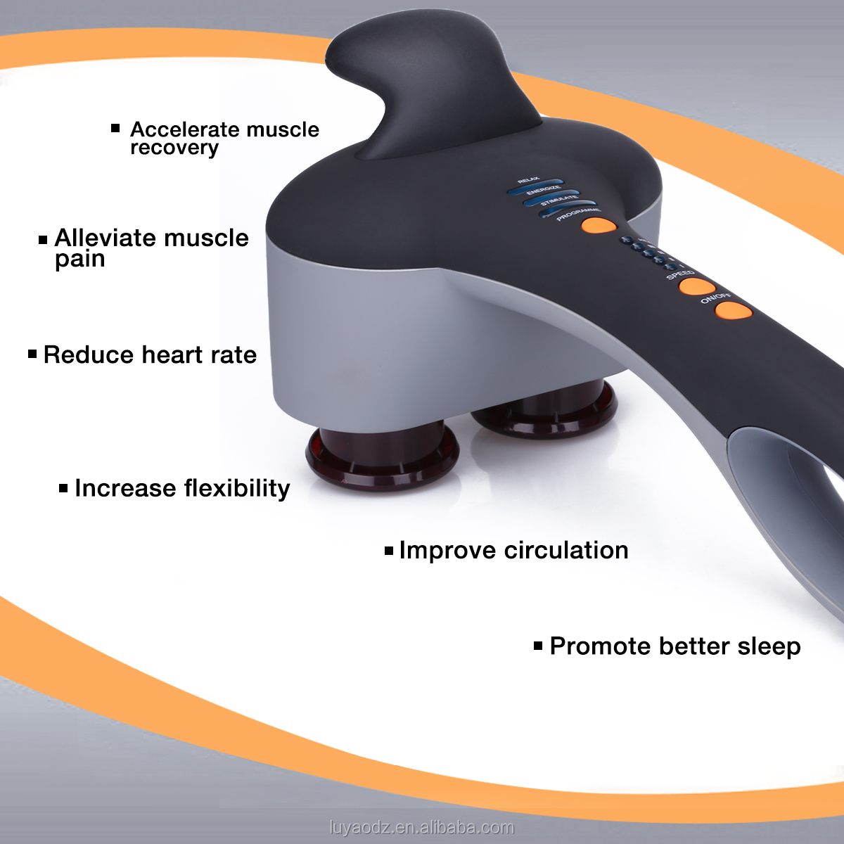 Most powerful electric dual head handheld back infrared heat vibration body deep tissue percussion massager