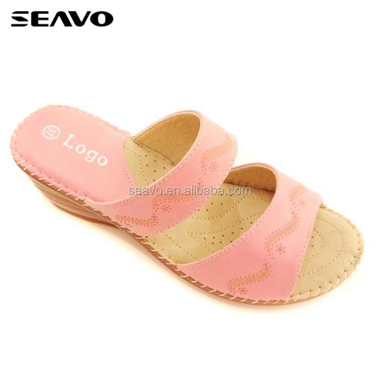 SEAVO SS18 footwear high-heel casual designer double strap wedge sandal for women
