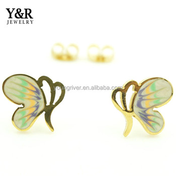 Hot Selling 316 Stainless Steel Colourful Cute Butterfly Earring