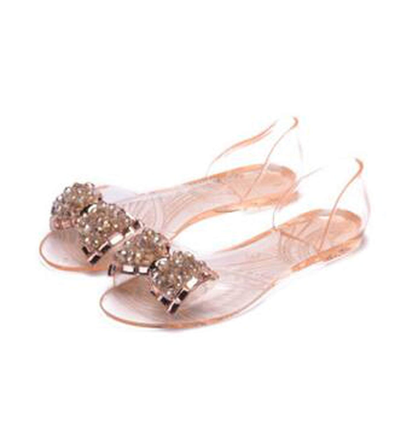 692d0f400db0 Get Quotations · Romantic moments Women Sandals PVC Summer Transparent  Arrival Comfortable Bownot Flats Cover Heel Slip On Jelly