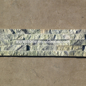 Wall decoration slate outdoor tiles green stone wall panel