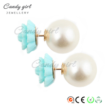 Candygirl brand wholesale new Fashion pink retro flowers Imitation pearl stud earrings