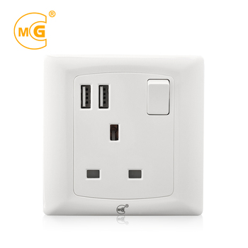 China brand British standard wall socket switch with USB