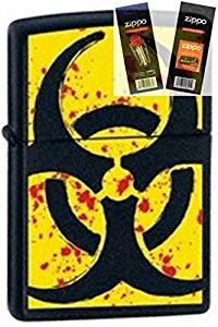Zippo 24330 Hazardous Black Lighter Withflint & Wick Gift Set