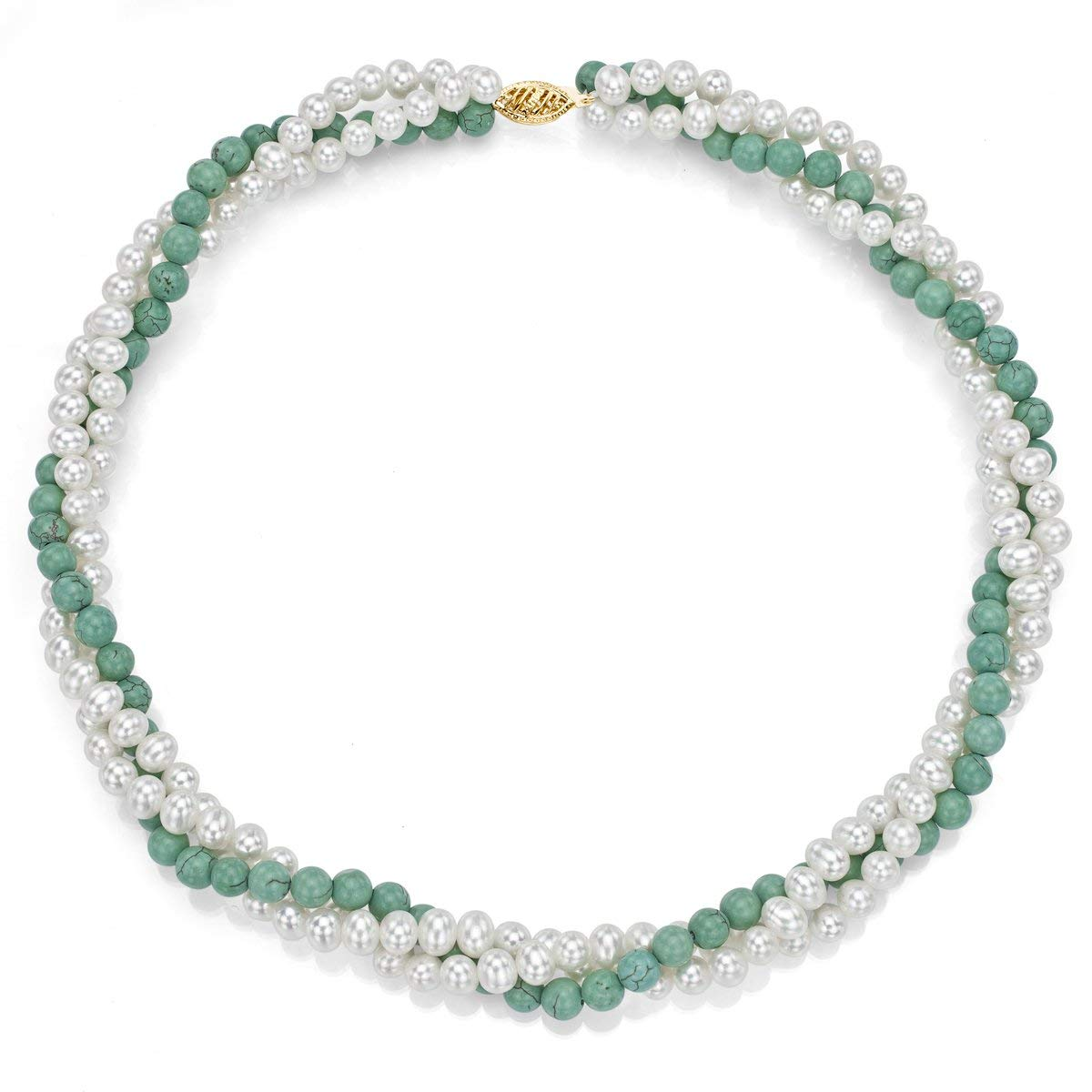 """La Regis Jewelry 14k Yellow Gold 4-4.5mm White Freshwater Cultured Pearl 4mm Simulated Turquoise Twisted Necklace 16"""""""