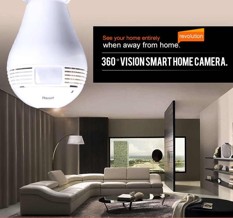 Audio 360 degree camera night vision wifi ip fisheye light bulb security cctv surveillance camera with digital camera