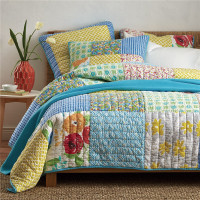 Soft bright reactive printing 100% cotton King 3pcs bedspread patchwork handmade quilt