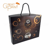 Eco Glossy Gift Paper Packaging Coffee Box with Handle