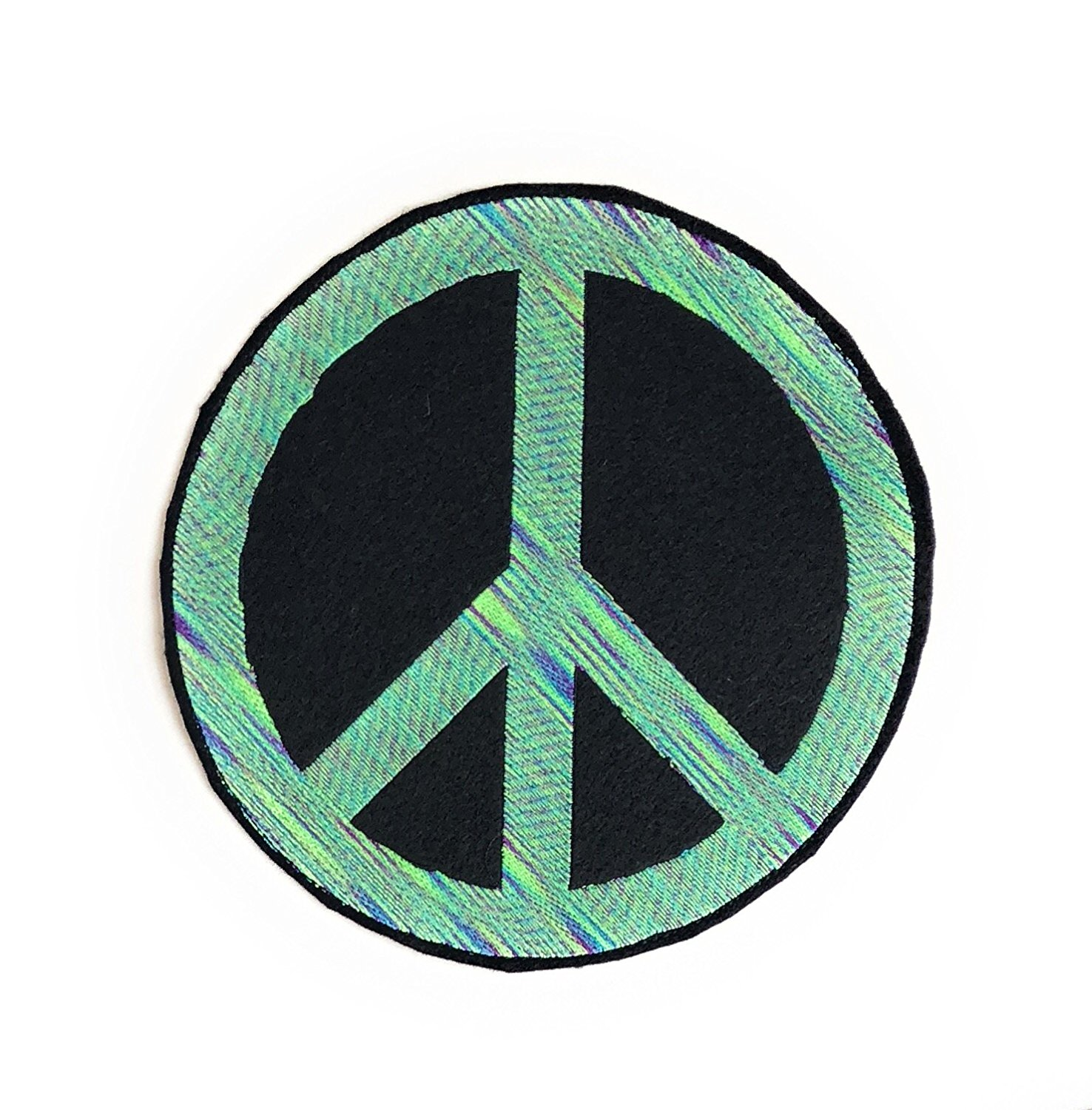 Large Peace Sign Patch, Peace Symbol Patch, Peace Sign Sew on Patch, Large Patch 7.5 inches in Variegated Green, Made in USA