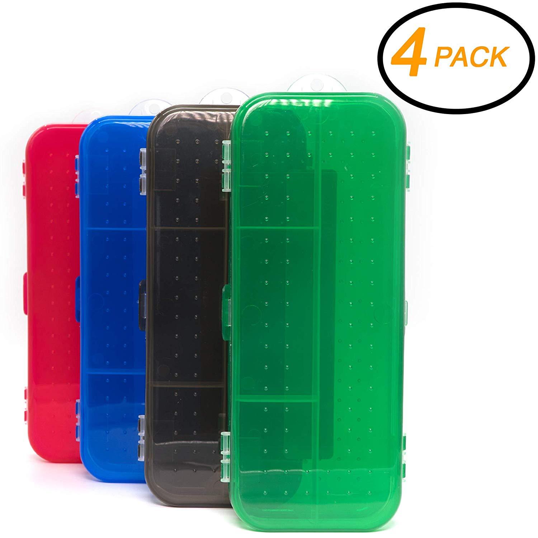 Emraw Double Deck Organizer Box - Small Items Organizer Box with 5 compartments Durable Plastic Pencil Box Small Plastic Pencil Case, Mini Organizer Storage Box (Random 4-Pack)