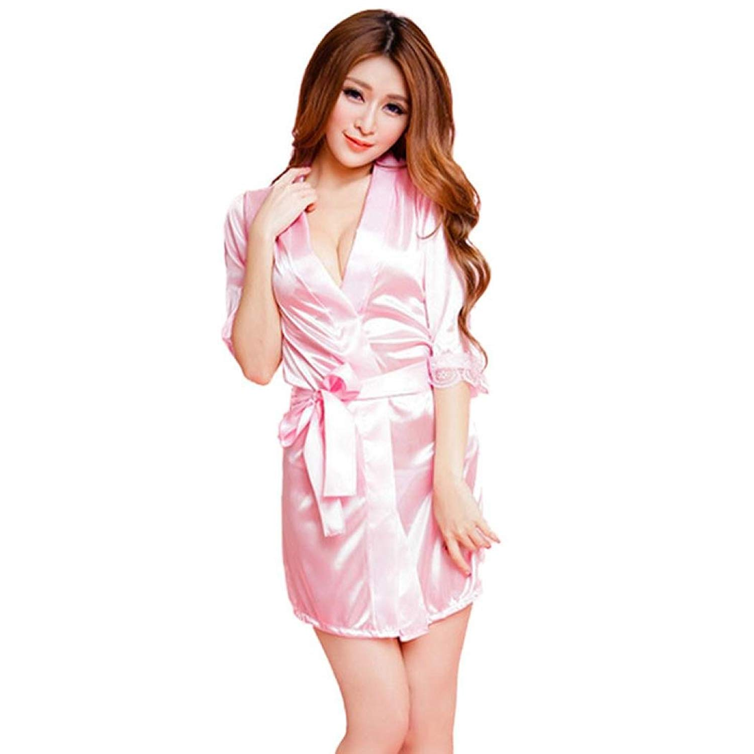 Wqueen Silk Dress Bathrobe Sleepwear Underwear Classic Bathrobe Pure Role-Playing  Lingerie Wild bd4f7a9ed